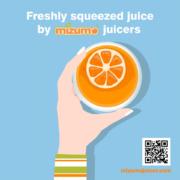Freshly squeezed juice by Mizumo juicers